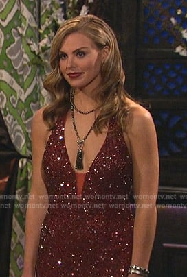 Hannah's red sequin gown on The Bachelorette