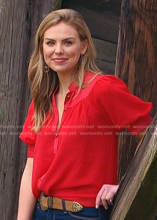 Hannah's red puff sleeve blouse on The Bachelorette