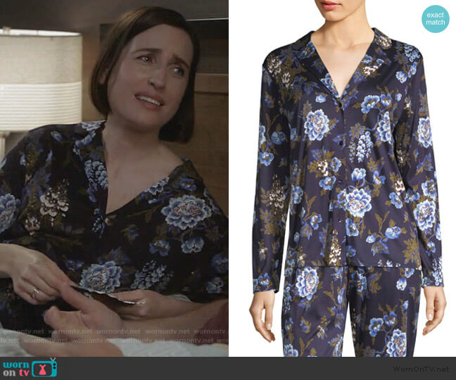 Zahra Floral Long-Sleeve Sleepwear Top by Hanro worn by Jennifer Short (Zoe Lister-Jones) on Life in Pieces