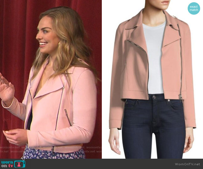 Asymmetric Biker Jacket by Harris Wharf London worn by Hannah Brown  on The Bachelorette