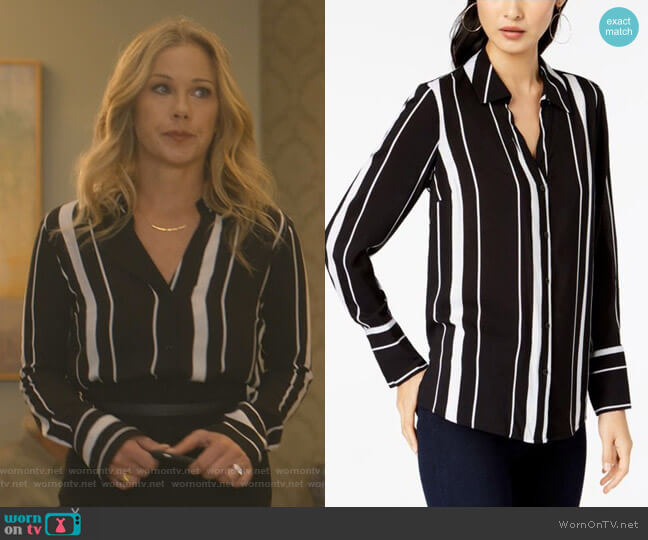 Striped Button-Front Shirt by INC International Concepts worn by Jen Harding (Christina Applegate) on Dead to Me