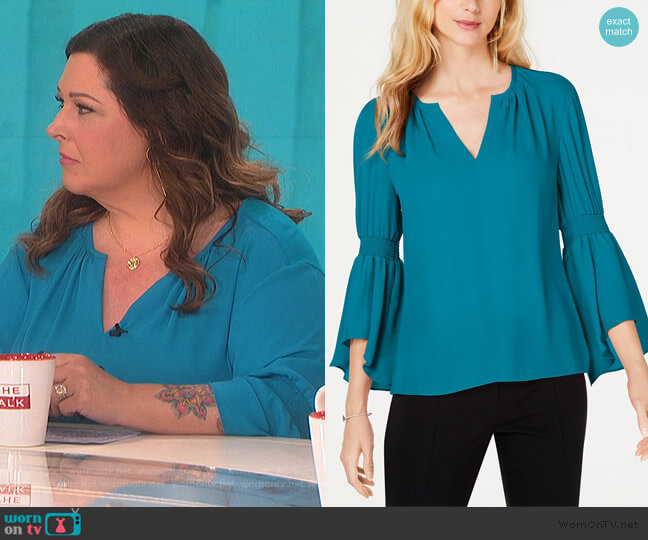Smocked Bell-Sleeve Top by INC International Concepts worn by Carnie Wilson on The Talk