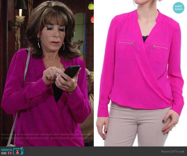 INC International Concepts Women's Zipper-Pocket Surplice Blouse worn by Esther Valentine (Kate Linder) on The Young & the Restless