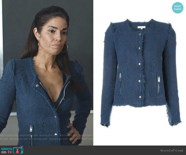 Frayed Tweed Jacket in Blue by IRO worn by Susan Sampson (Ana Ortiz) on Whiskey Cavalier