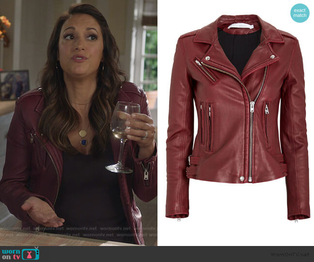 Han Leather Moto Jacket by IRO worn by Colleen Brandon-Ortega (Angelique Cabral) on Life in Pieces