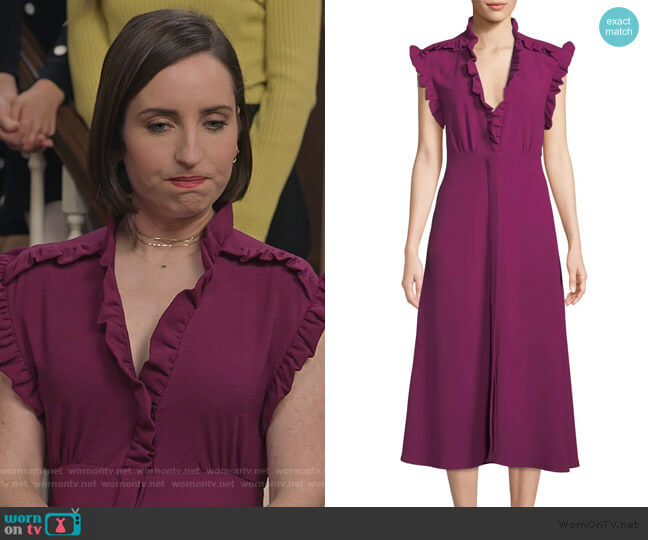 Hurray Ruffle Split-Hem Midi Dress by IRO worn by Jennifer Short (Zoe Lister-Jones) on Life in Pieces