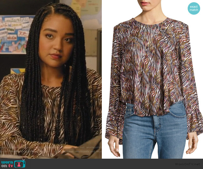 Tildana Silk Zebra-Print Top by IRO worn by Kat Edison (Aisha Dee) on The Bold Type