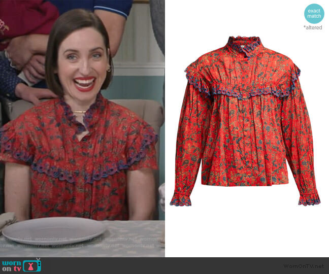 Elmira floral-print cotton blouse by Isabel Marant Etoile worn by Jennifer Short (Zoe Lister-Jones) on Life in Pieces