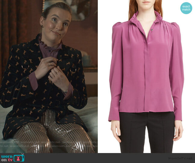 Lamia Ruffle Neck Silk Blouse by Isabel Marant worn by Villanelle (Jodie Comer) on Killing Eve