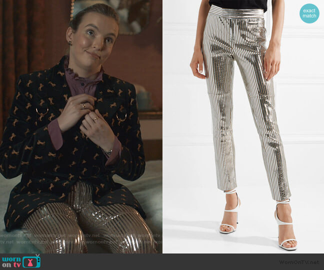 Novida metallic striped leather skinny pants by Isabel Marant worn by Villanelle (Jodie Comer) on Killing Eve