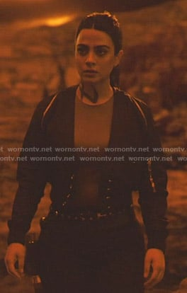 Isabelle's black cropped bomber jacket with grommets on Shadowhunters