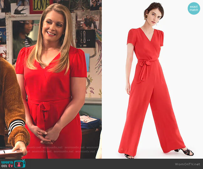 Short-Sleeve Wrap Jumpsuit by J.Crew worn by Liz (Melissa Joan Hart) on No Good Nick