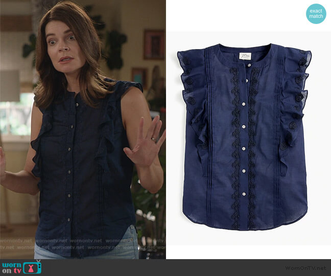 Point Sur sleeveless embroidered flutter top by J. Crew worn by Heather Hughes (Betsy Brandt) on Life in Pieces