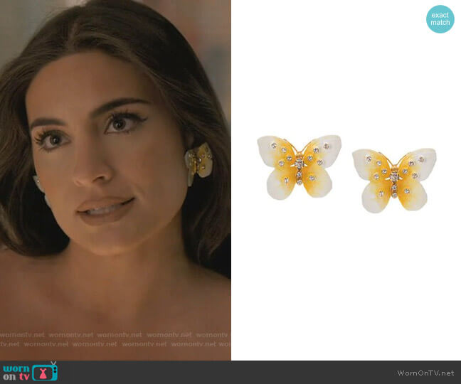 Butterfly Earrings by Jennifer Behr worn by Cristal Jennings (Daniella Alonso) on Dynasty