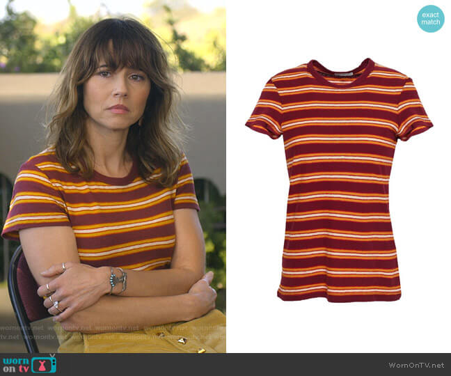 Striped Cotton-jersey T-shirt by James Perse worn by Judy Hale (Linda Cardellini) on Dead to Me