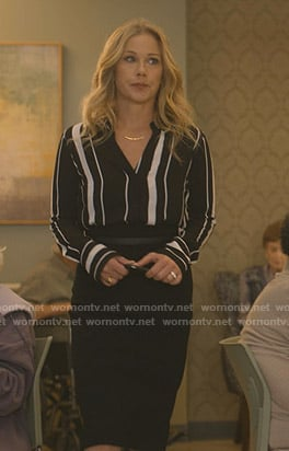 Jen's black striped blouse and pencil skirt on Dead to Me