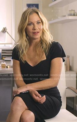Jen's black sheath dress on Dead to Me