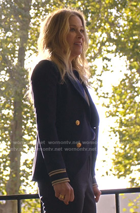 Jen's navy double breasted blazer on Dead to Me