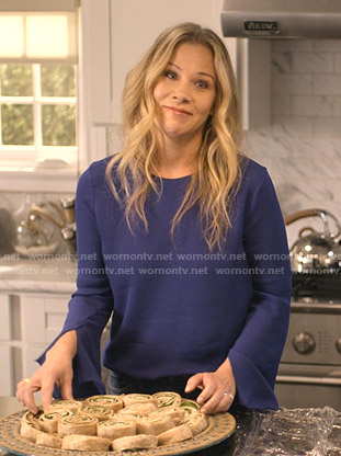Jen's blue split cuff top on Dead to Me