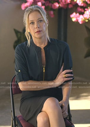 Jen's green zip front blouse and pencil skirt on Dead to Me