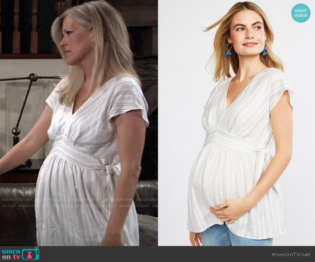 Jessica Simpson Striped Side Tie Maternity Top worn by Carly Corinthos (Laura Wright) on General Hospital