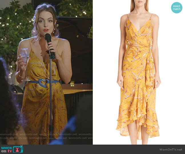 Daffodil Print Silk Midi Dress by Johanna Ortiz worn by Fallon Carrington (Elizabeth Gillies) on Dynasty
