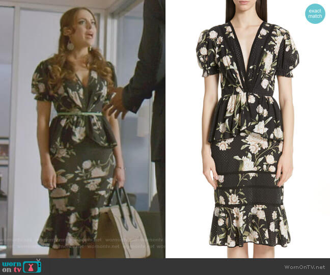 Estate Floral Print Eyelet Dress by Johanna Ortiz worn by Fallon Carrington (Elizabeth Gillies) on Dynasty