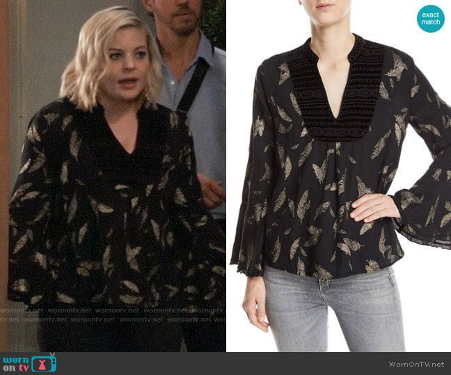Johnny Was Metallic-Print Velvet-Trim Blouse worn by Maxie Jones (Kirsten Storms) on General Hospital