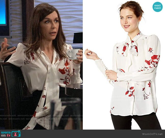 Joie Angeletta Blouse worn by Anna Devane (Finola Hughes) on General Hospital
