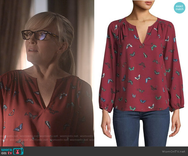 Odelette Printed Top by Joie worn by Linda Martin (Rachael Harris) on Lucifer