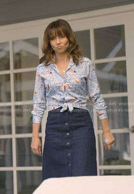 Judy's denim midi skirt on Dead to Me