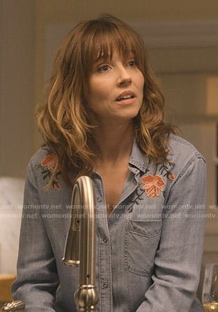 Judy's floral embroidered chambray shirt on Dead to Me