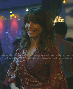 Judy's red floral wrap dress on Dead to Me