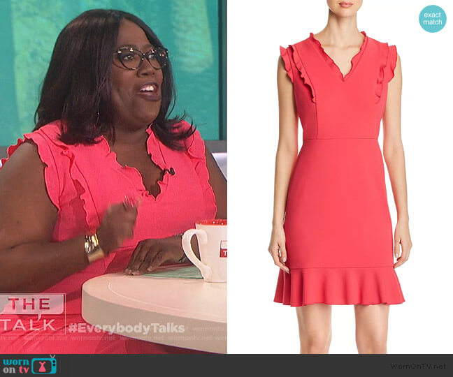 Sleeveless Ruffle-Trim Dress by Karl Lagerfeld  worn by Sheryl Underwood  on The Talk