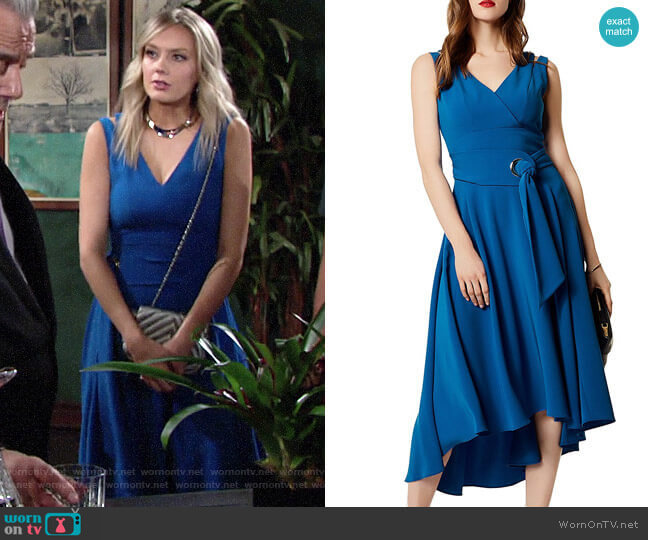 Karen Millen Belted High/Low Midi Dress worn by Abby Newman (Melissa Ordway) on The Young & the Restless