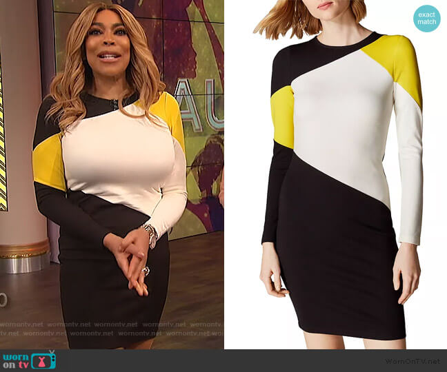 Colorblock Dress by Karen Millen worn by Wendy Williams  on The Wendy Williams Show
