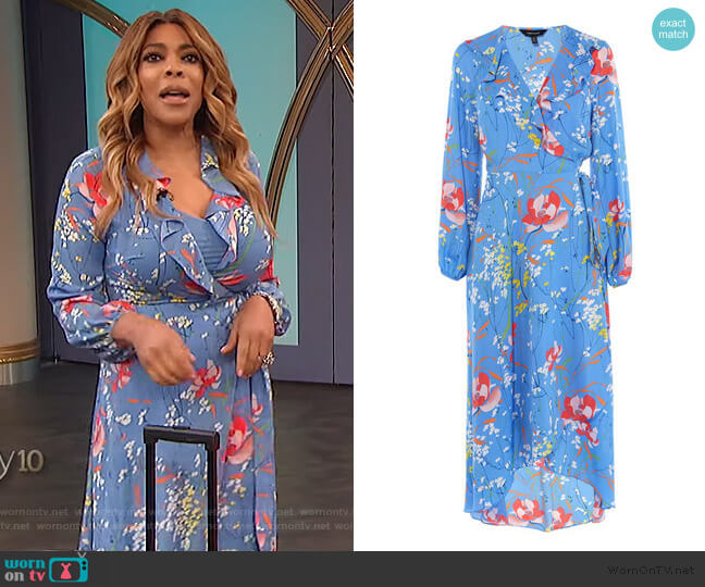 Floral Wrap Midi Dress by Karen Millen worn by Wendy Williams  on The Wendy Williams Show