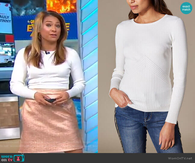 Ribbed Fitted Top by Karen Millen worn by Ginger Zee  on Good Morning America