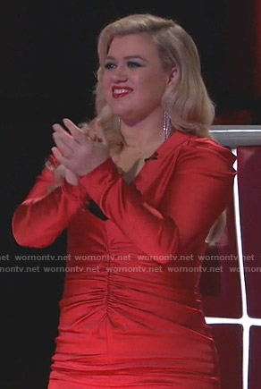 Kelly Clarkson's red ruched front dress on The Voice