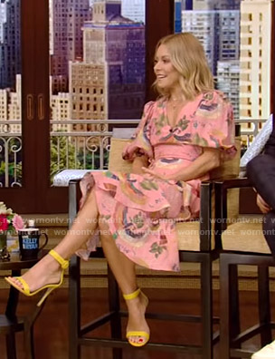 Kelly's pink printed wrap dress on Live with Kelly and Ryan
