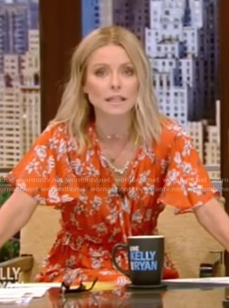 Kelly's orange floral dress on Live with Kelly and Ryan