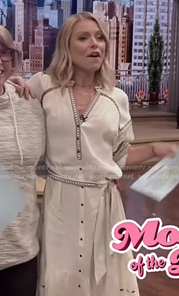 Kelly's white embroidered shirtdress on Live with Kelly and Ryan