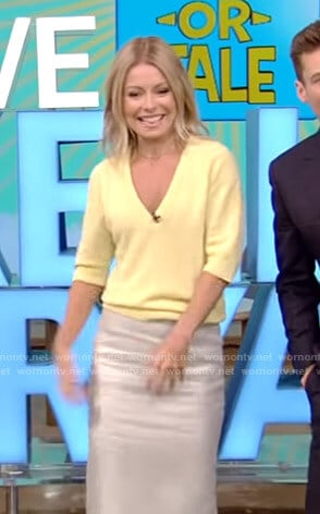Kelly's yellow sweater and metallic pencil skirt on Live with Kelly and Ryan