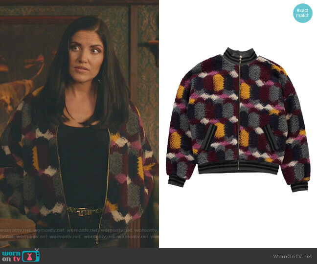 Knitted Multicolor Bomber Jacket by Essentiel Antwerp worn by Martyna  Marek (Marika Dominczyk) on Whiskey Cavalier