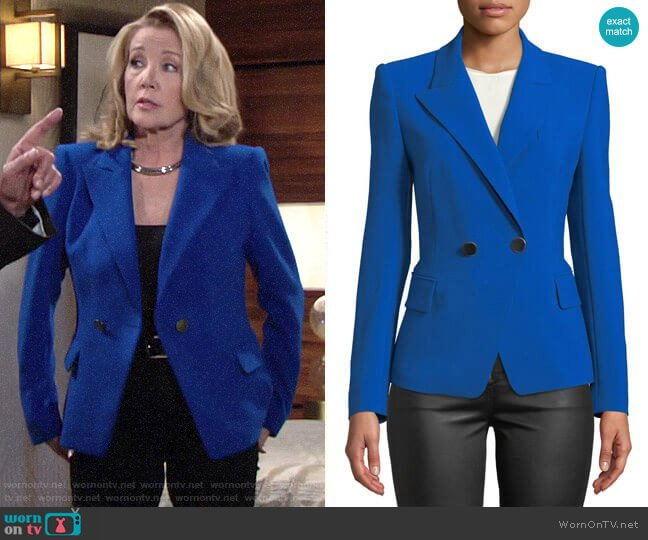 Kobi Halperin Corynne Double-Breasted Blazer worn by Nikki Reed Newman (Melody Thomas-Scott) on The Young & the Restless
