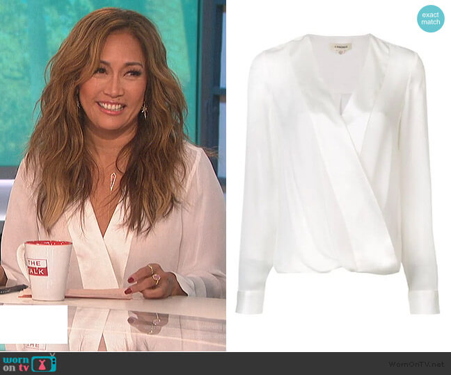 Wrap Front Blouse by L'Agence worn by Carrie Inaba  on The Talk