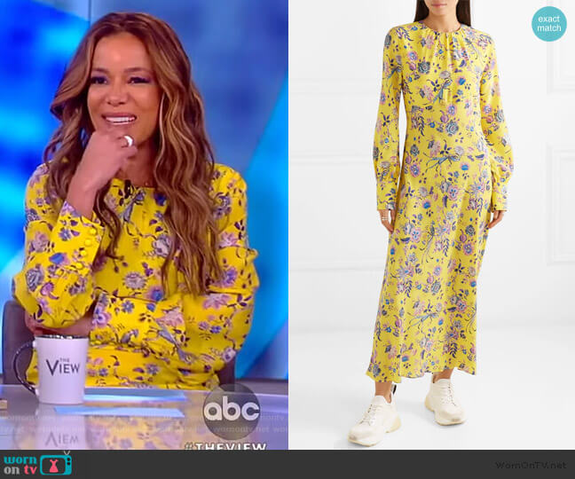 Floral-print silk crepe de chine dress by Les Reveries worn by Sunny Hostin  on The View