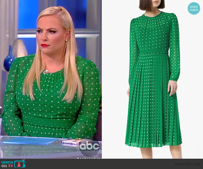 Avery Green Polka Dot Midi Dress by LK Bennett worn by Meghan McCain  on The View