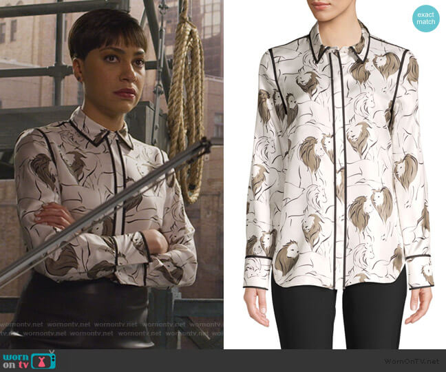 Scottie Leo Print Silk Blouse by Lafayette 148 worn by Lucca Quinn (Cush Jumbo) on The Good Fight