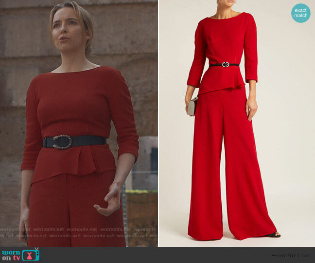 Peplum Blouse and High Rise Pants by Lanvin worn by Villanelle (Jodie Comer) on Killing Eve